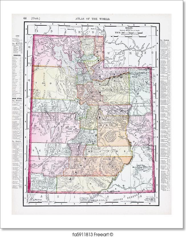 photograph relating to Printable Map of Utah referred to as Absolutely free artwork print of Antique Classic Colour Map of Utah, United states of america