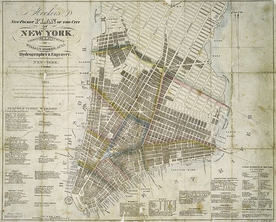 old new york map manhattan vintage map cartography illustrated thomas hooker nyc pocket map old map