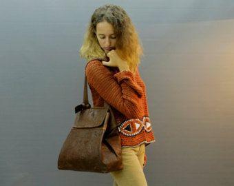 Check out SALE!!! Brown Leather handbag, shoulder bag Saddle Flap bag Fully lined wrinkled distressed leather on limorgalili