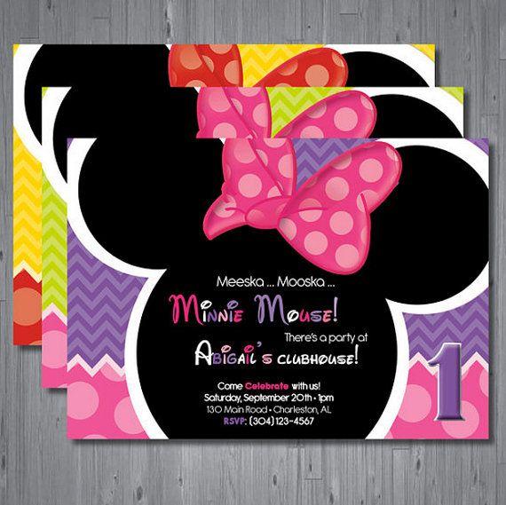 Minnie mouse Birthday Invitation first birthday invitation