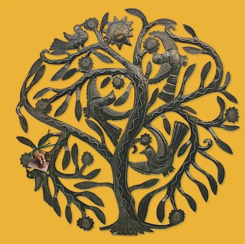 Garden Tree with Birds and Sun Metal Folk Art Wall Hanging - 6745 ...