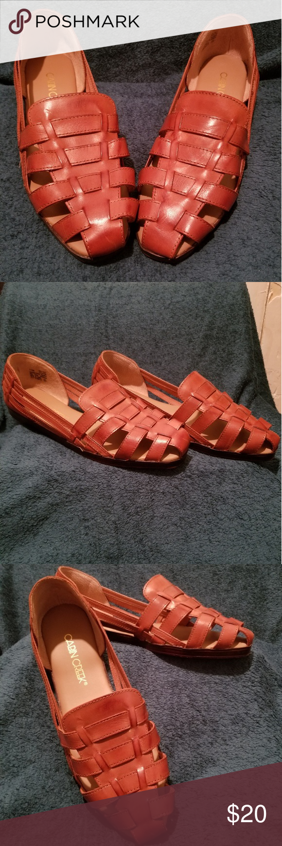 f29018e1a529 Cabin Creek Sandals Tan Weave Pattern Rarely Worn Minor Blemishes Cabin  Creek Shoes Sandals