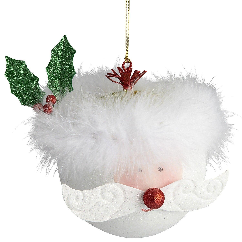 "Jolly Santa Ornament - 5""W x 4""D x 4.50""H,  Plastic, tin, metal,  Hand-painted."
