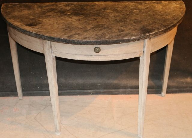 Marble topped console-19thC French bleached oak console with marble top. 1840.
