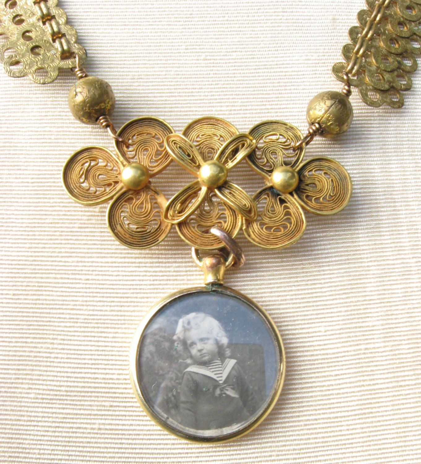 Reserved antique photo locket necklace with repurposed filigree pin