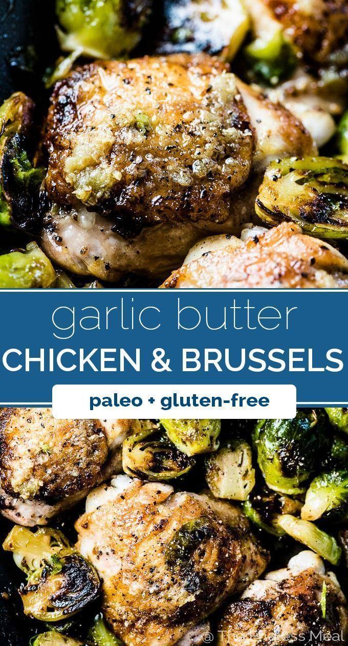Crispy Garlic Butter Chicken and Brussels #falldinnerrecipes