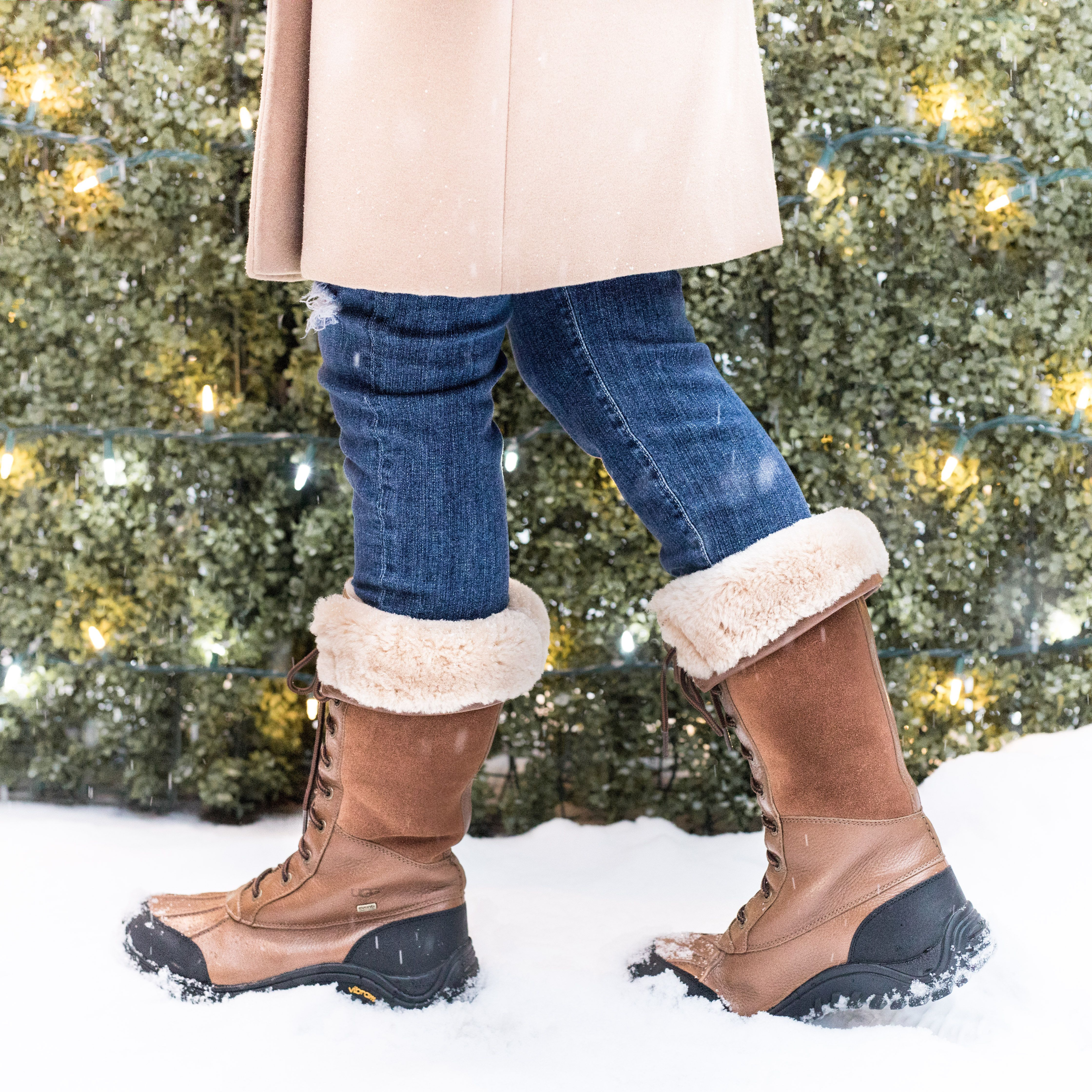 camel coat, uggs and blue jeans - winter fashion ideas