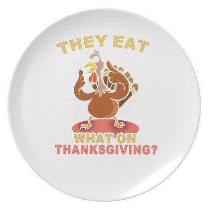 Funny Thanksgiving Turkey Tshirt Melamine Plate   Thanksgiving Tshirts  Custom Unique Happy Thanksgiving Holiday Celebrate