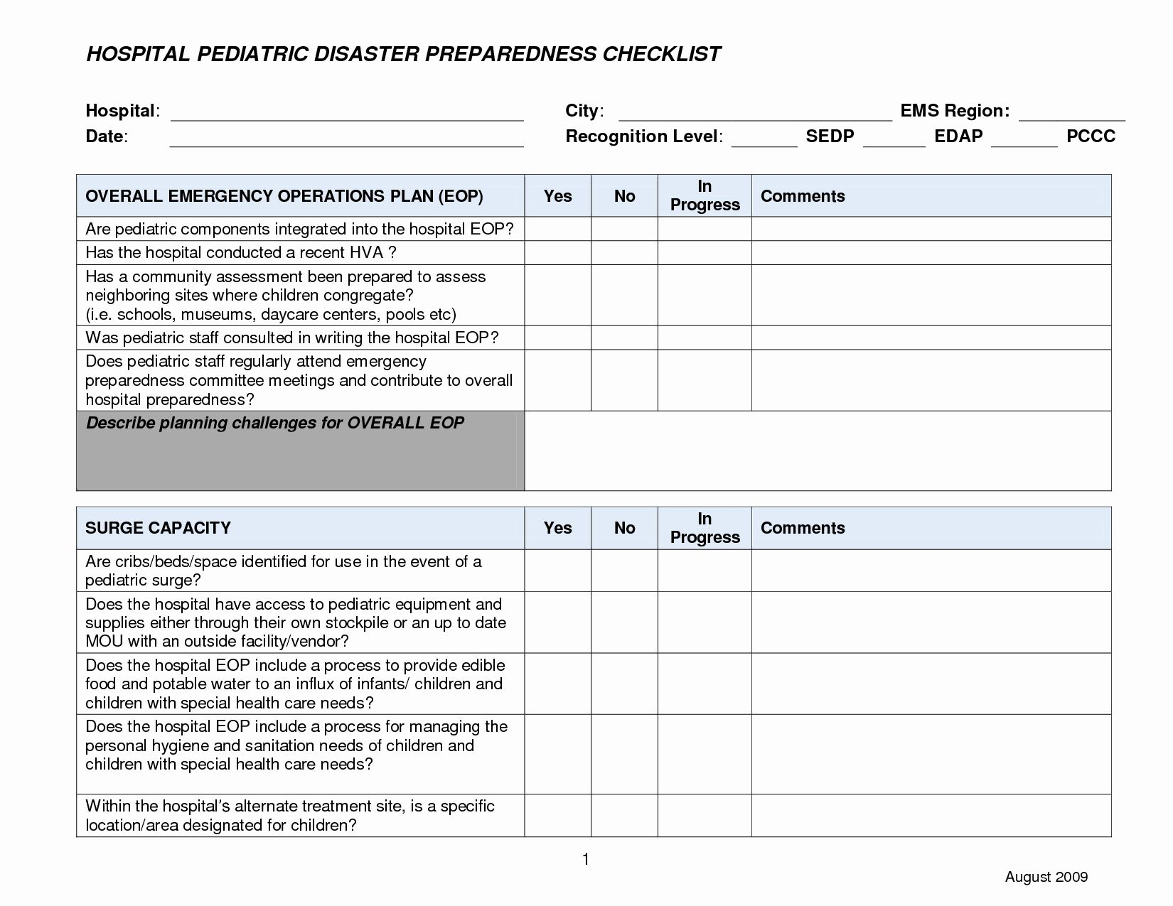 30 Hospital Emergency Preparedness Plan Template in 2020