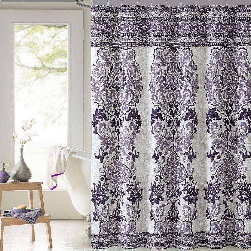 Mariah Plum Purple Paisley Cotton Fabric Shower Curtain Victoria Classics