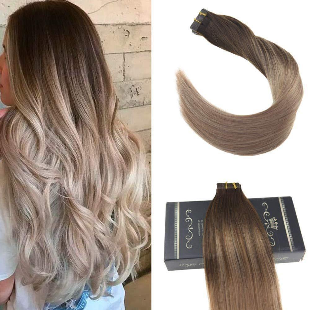 Ugea 20pcs Brazilian Balayage Tape In Hair Extensions Dark Brown
