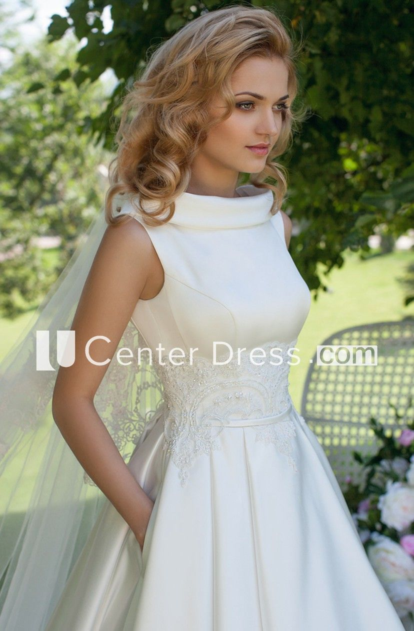 ee43779c028 A-Line High Neck Sleeveless Satin Wedding Dress With Lace And Lace Up -  UCenter Dress