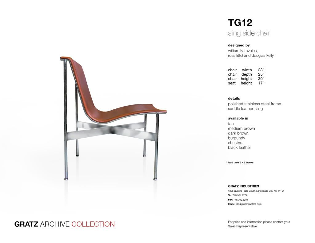 Tg12 Sling Side Chair By William Katavolos Ross Littel And Interior Design Furniture Template Spec Sheet Specification