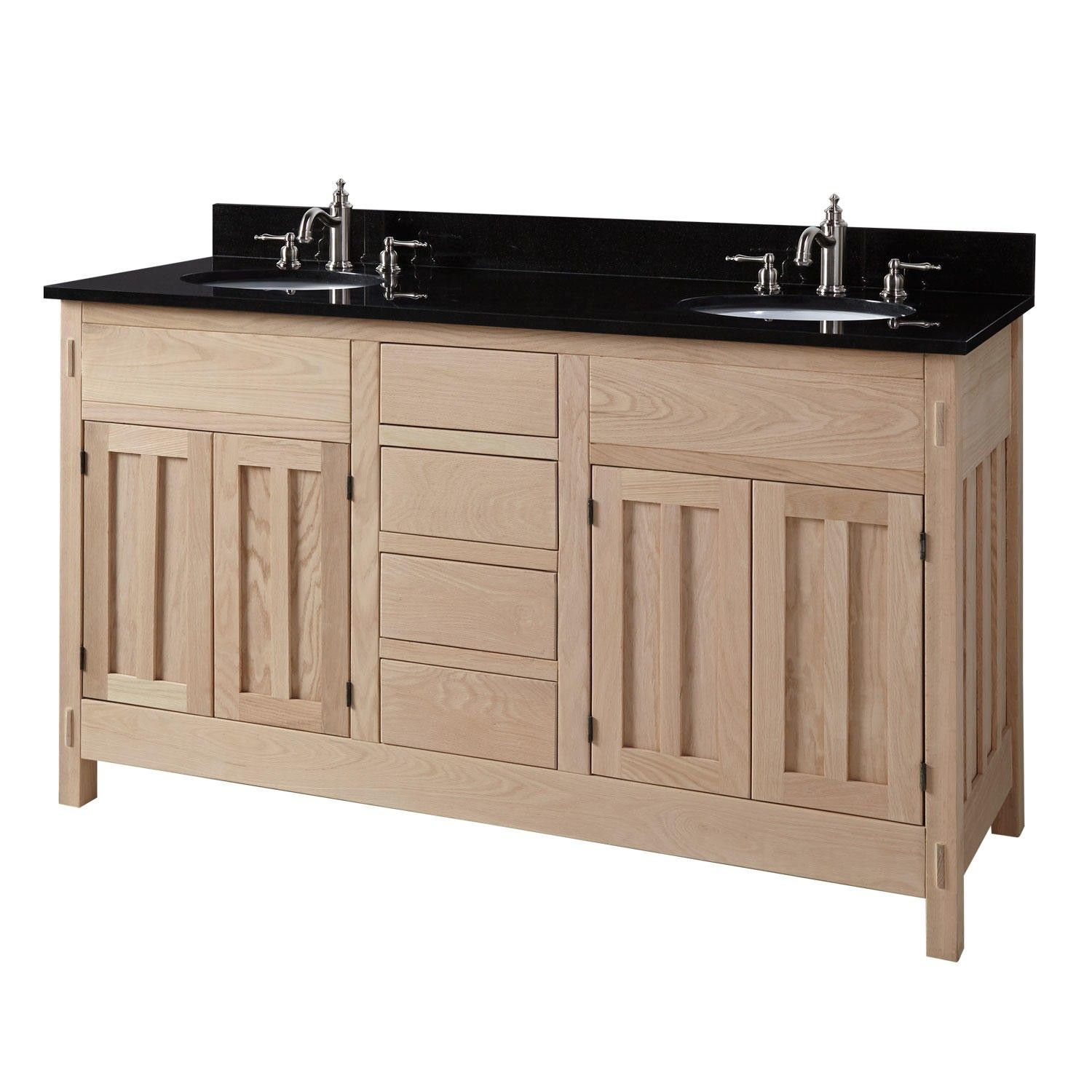 60 Unfinished Mission Hardwood Double Vanity For Undermount Sinks Unfinished Bathroom Vanities Bathroom Vanity Wood Bathroom Vanity