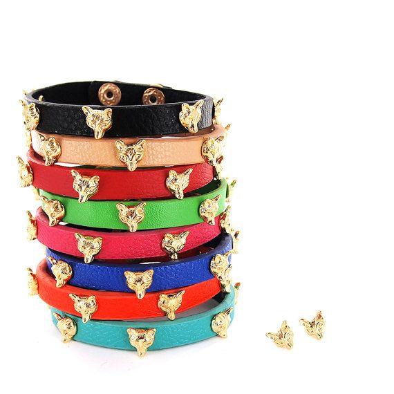 Fox Head Charm Single Wrap PU Leather Bracelet Black by JewelShake