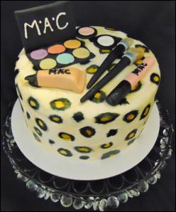 MAC Make up and cheetah print cake.   www.OakTreeJunction.com
