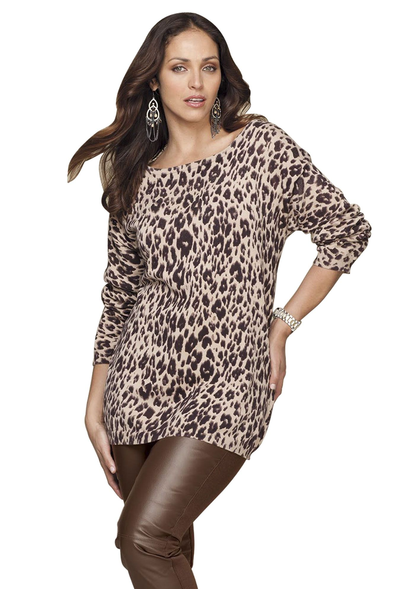 Plus Size Animal Print Sweater | Plus Size Tops | Jessica London ...