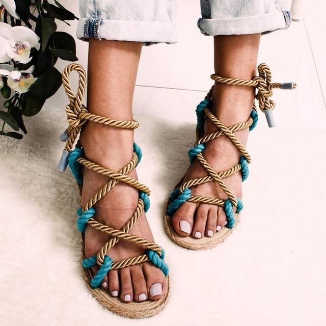 ShoeN Tale Womens Flat Gladiator Sandals Lace Up Snake Print Beach Shoes