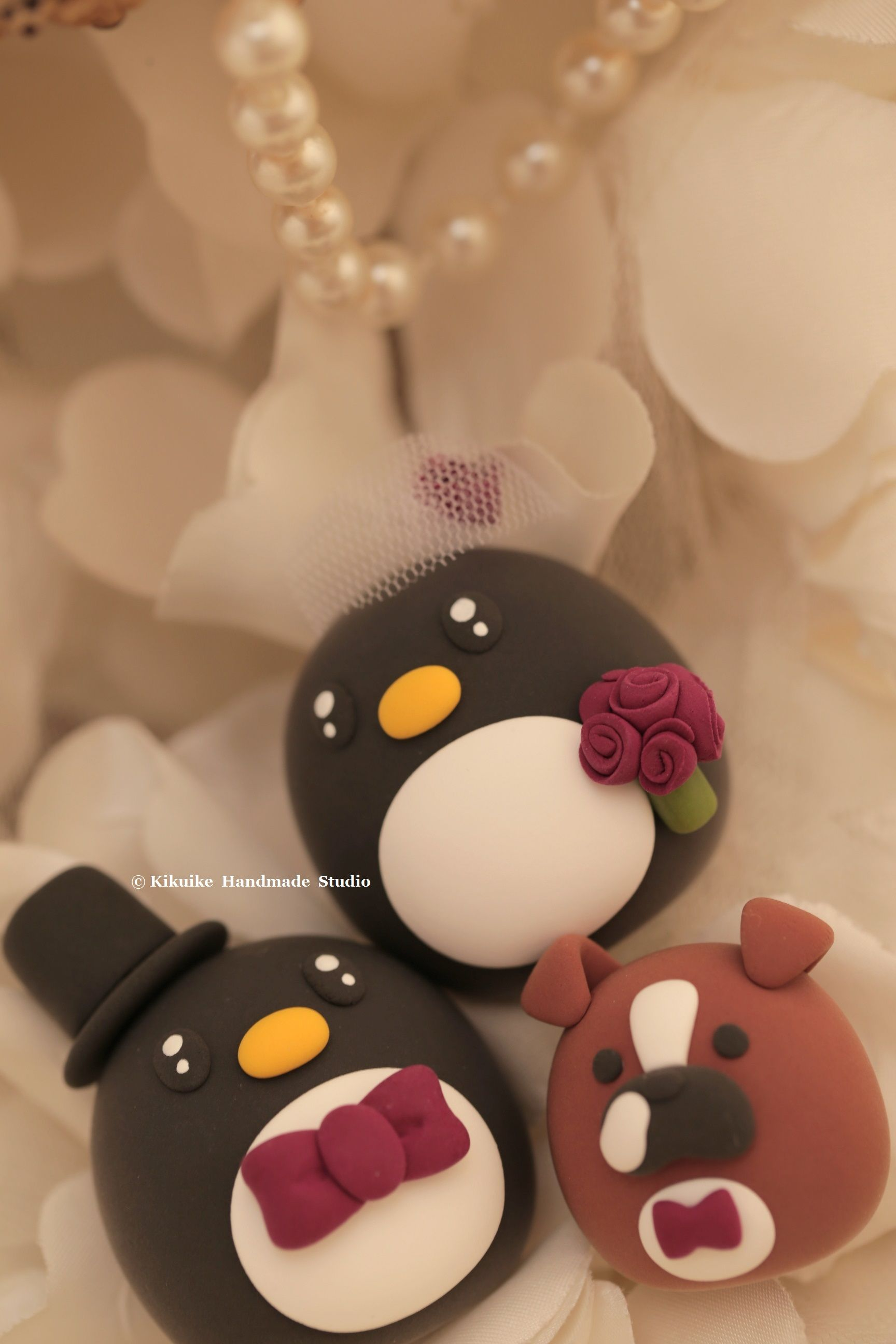 Penguins with bulldog wedding cake topper cute animalscaketopper