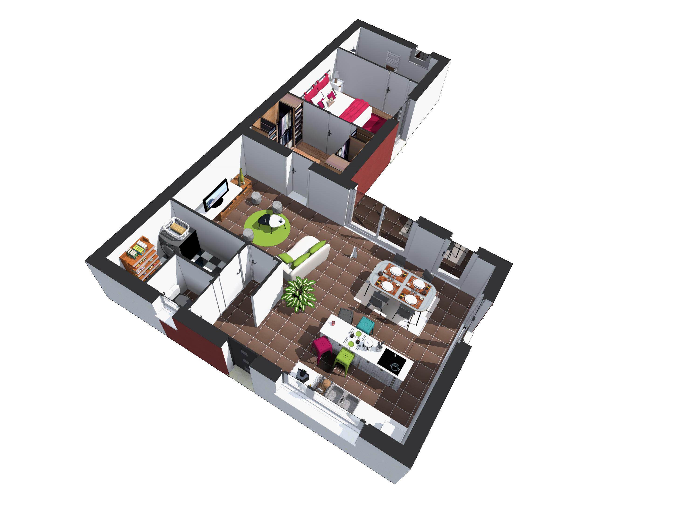 En entrant dans le modèle Confort, les pièces changent de disposition par rapport au modèle précédent. En effet dès l'entrée il est conservé à droite la cuisine avec îlot central, cependant à droite on y trouve désormais une buanderie ainsi que des WC, ce qui laisse la place pour agrandir l'espace cuisine avec un salon conséquent. En continuant dans l'excroissance nous retrouvons un espace dressing donnant accès à la suite parentale puis à la salle de bain.