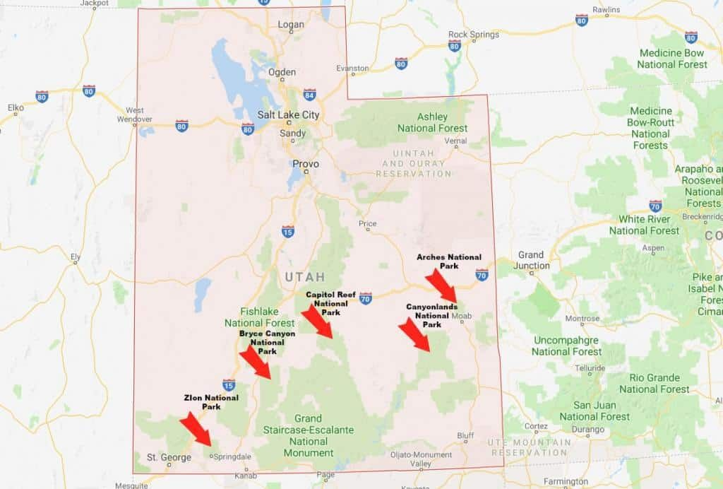 The Mighty 5 Utah National Parks Utah National Parks Map Utah