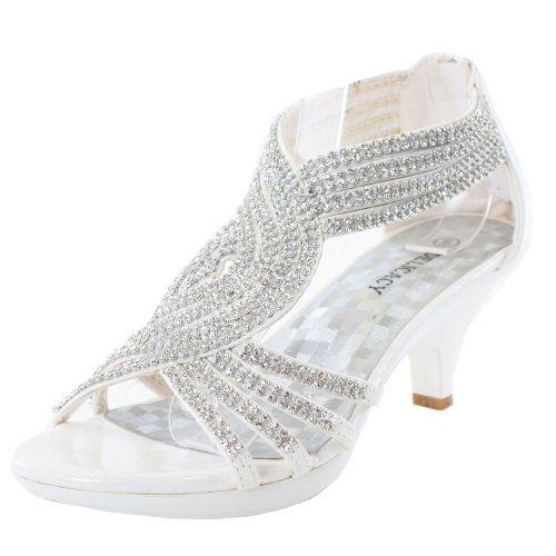 9761b415c14 JJF Shoes Angel37 White Strappy Rhinestone Dress Sandal Low Heel Shoes-5 JJF  Shoes http