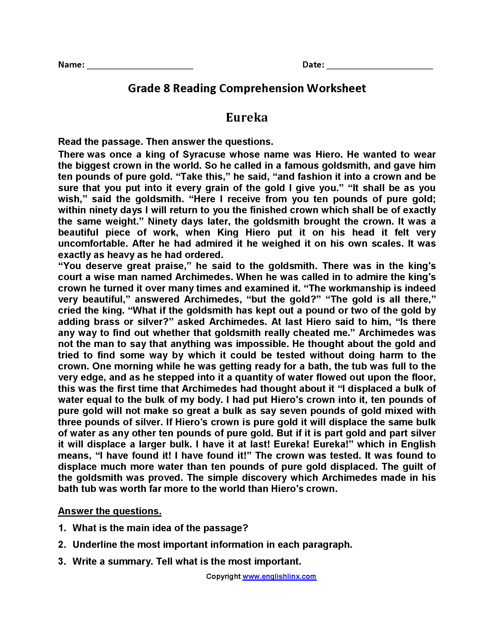 Eureka Eighth Grade Reading Worksheets