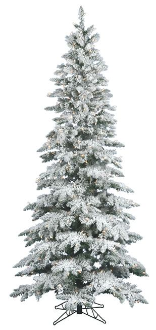 65 Foot, Dura-Lit Artificial Christmas Tree, Utica, Flock Clear