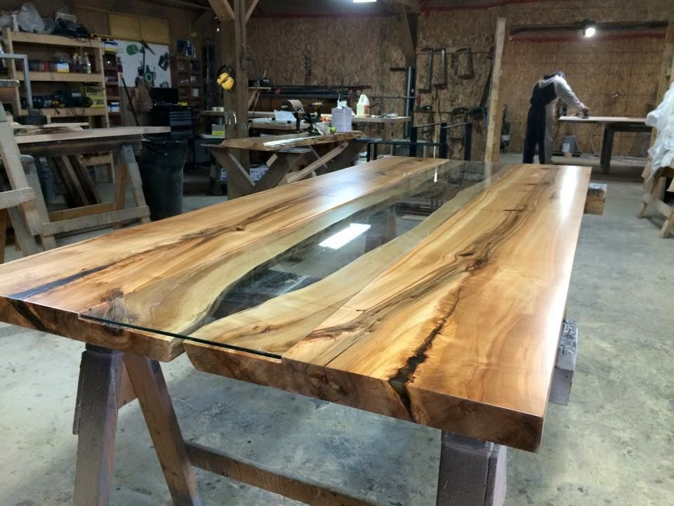 Live Edge Harvest Table with glass insert. Tree Green Team