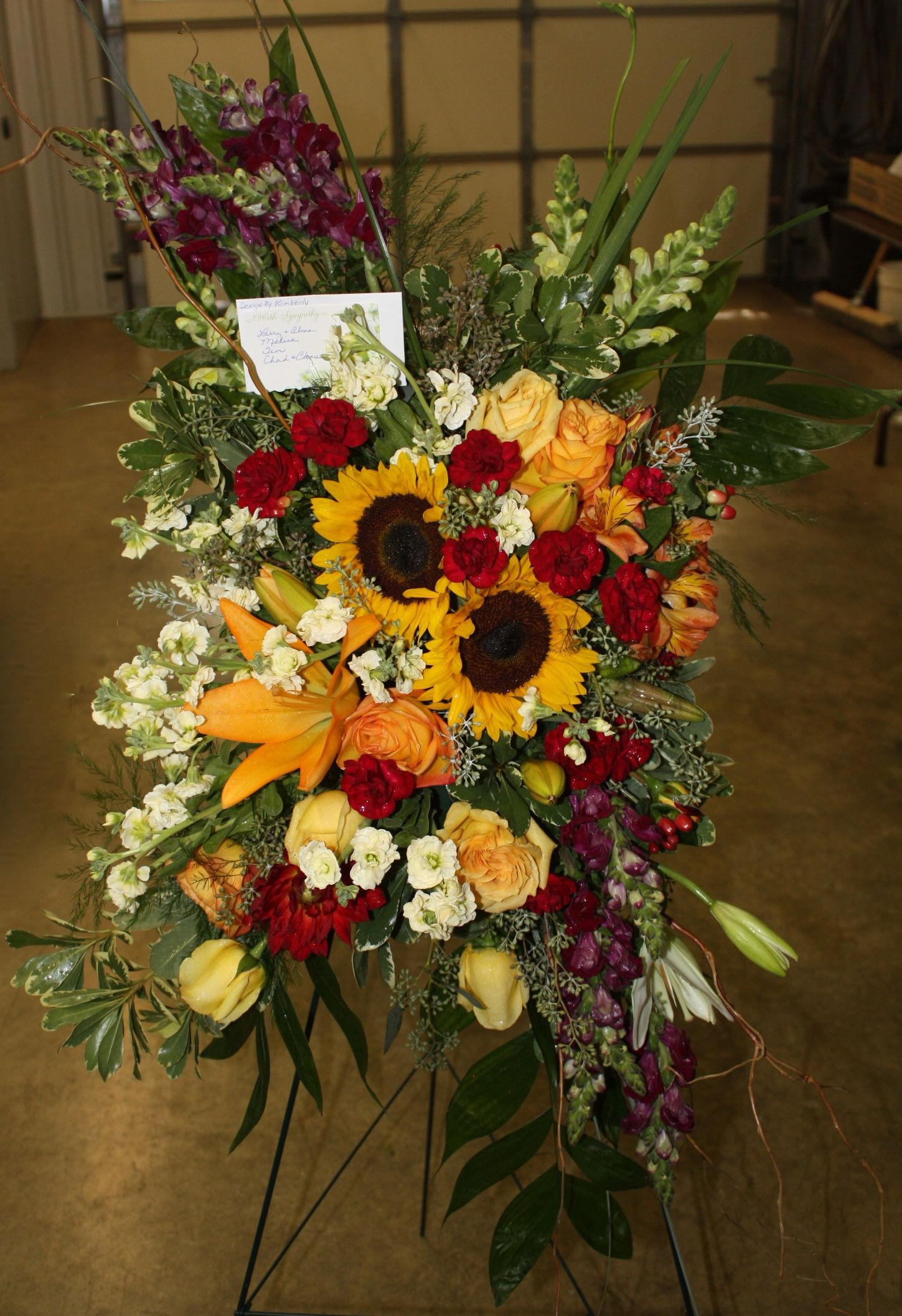 rectangular spray Casket flowers, Funeral floral