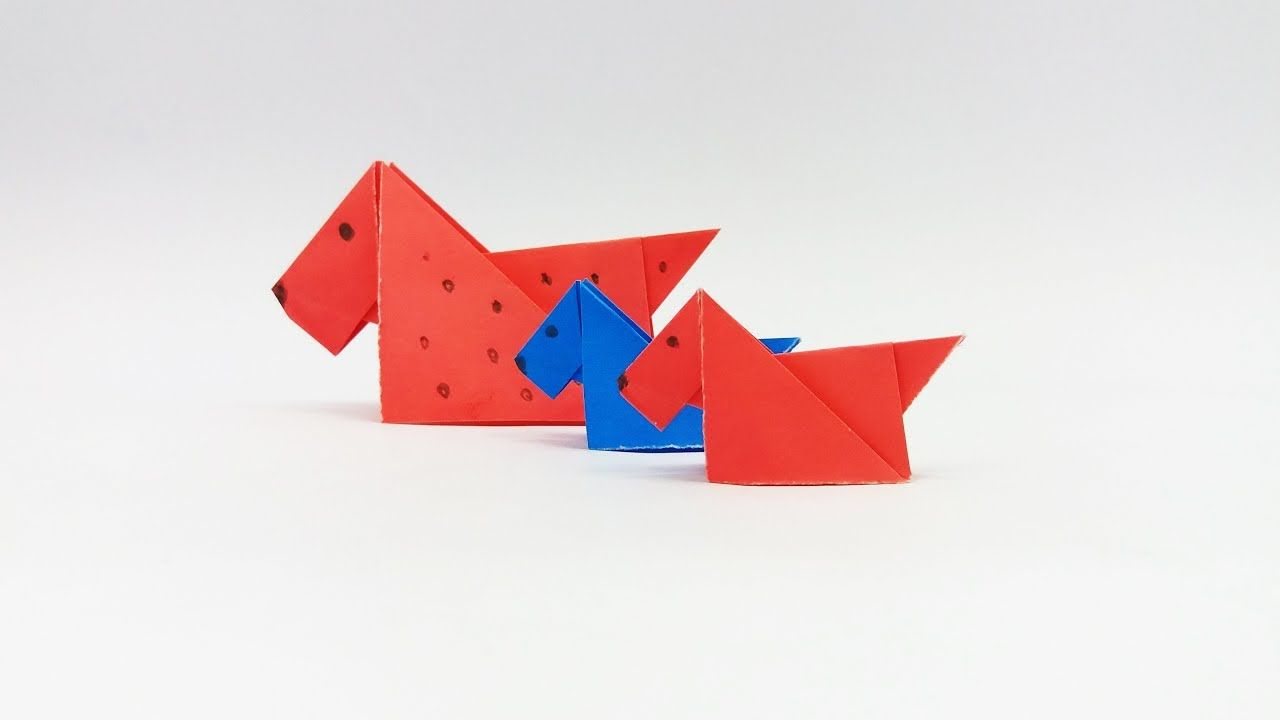 Diy How To Make An Easy Dog Make An Origami Paper Dog Origami Dog Tutorial For Kids Paper Dogs Origami Paper Origami Bookmark Corner
