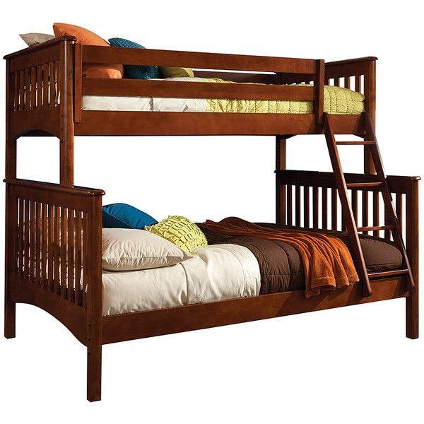 Bolton Furniture Chestnut Mission Twin & Full Bunk Bed (1,245 CAD) ❤ liked on Polyvore featuring home, children's room and children's furniture