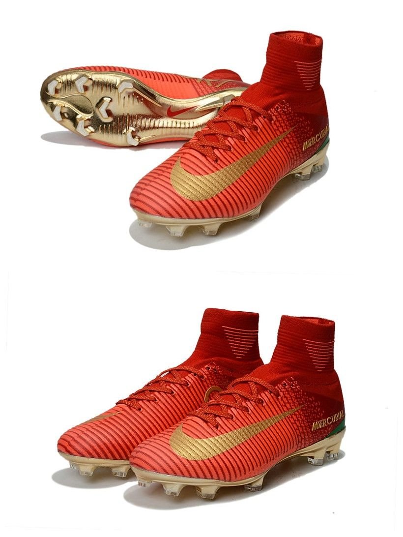 online store 843aa f4f84 Chaussures de Football Nouvelles 2017 Nike Mercurial Superfly 5 FG - Rouge  Or
