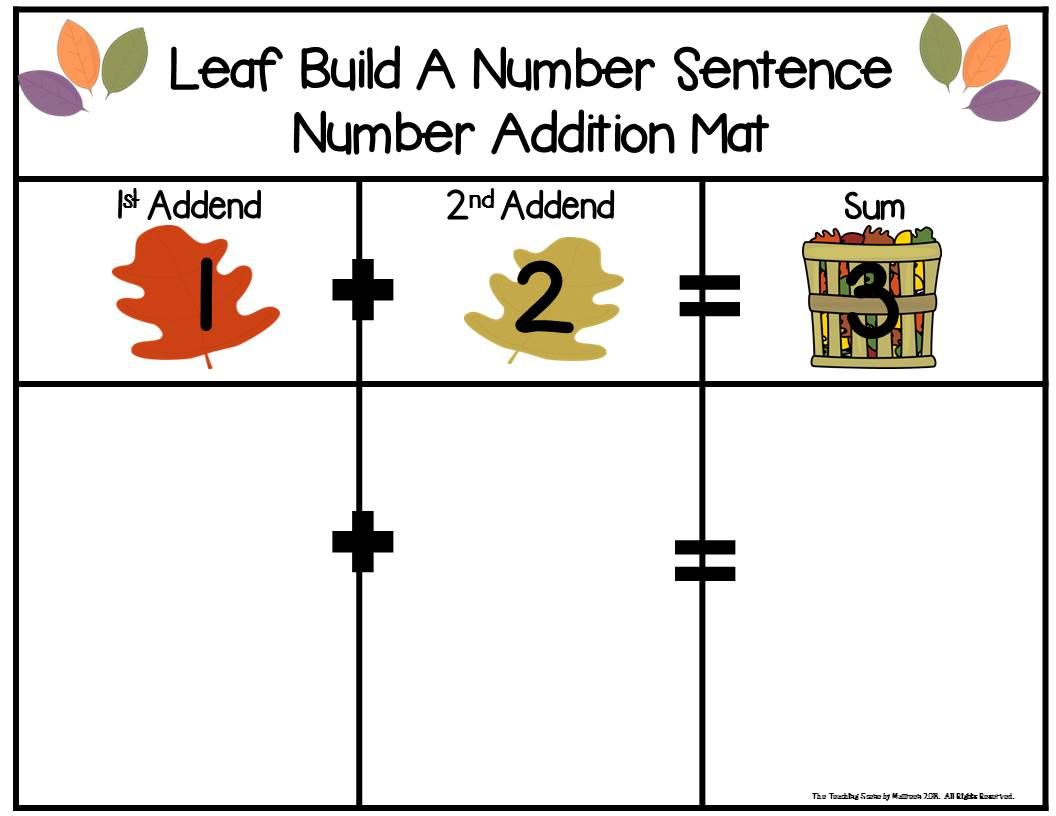 Fall Leaves Build 2 Addend Adddition Or Subtraction With