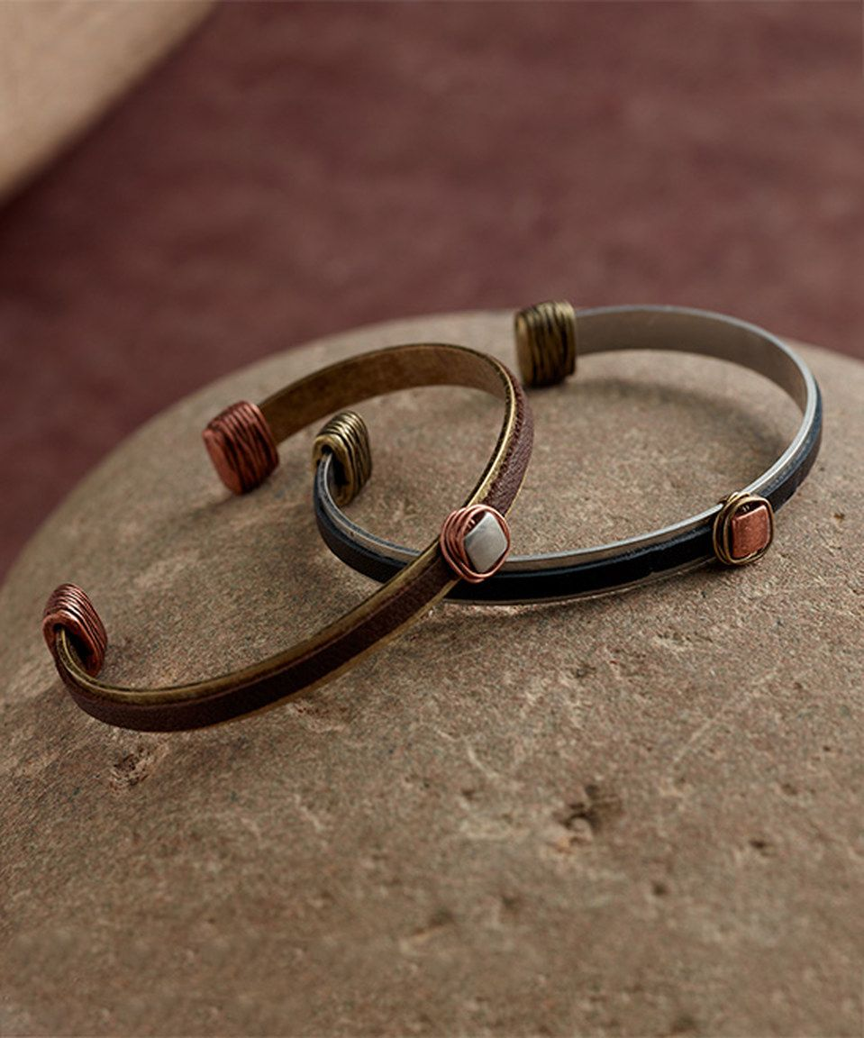 Two-Tone & Leather Cuff Set by Soulfully Worn