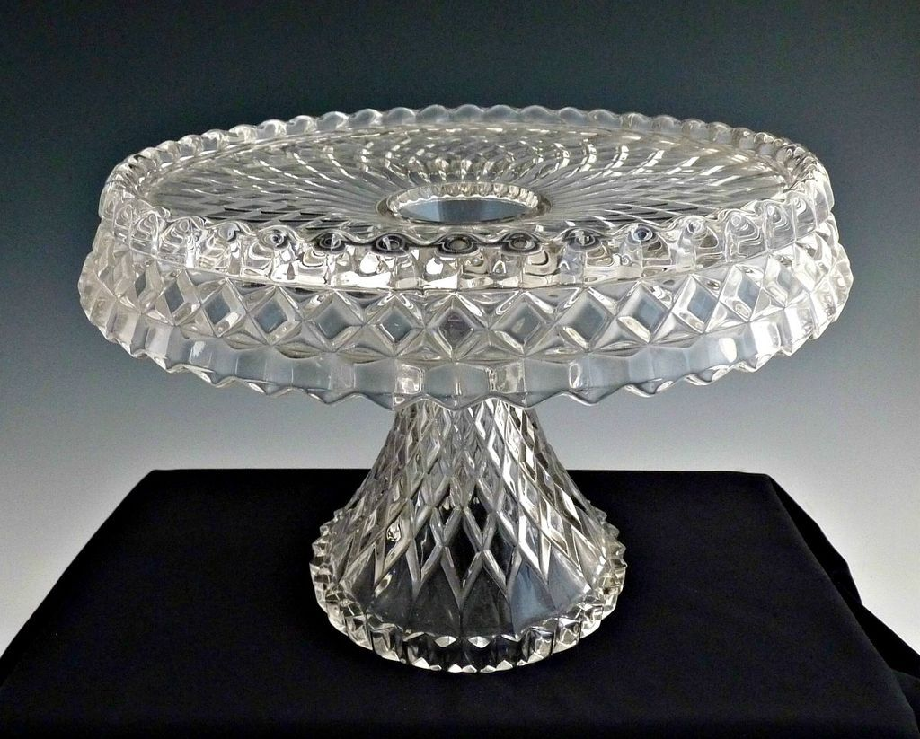 Vintage Glass Cake Stand Virginian By Cambridge Glass Glass Cake