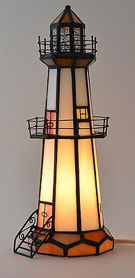 Decorative Stained Glass Lighthouse Lamp Ebay Xmas