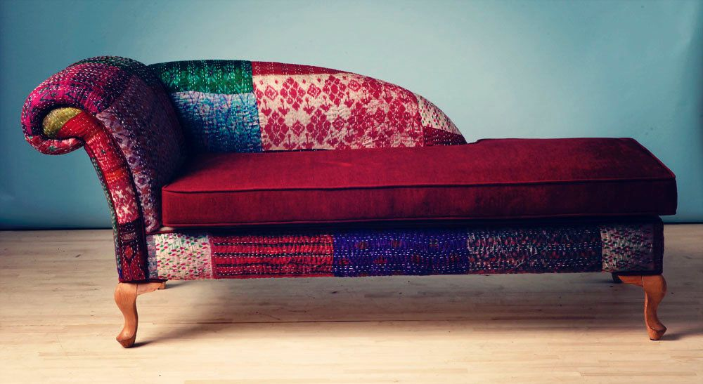 Phenomenal Patchwork Chaise Lounge Indian Kantha Quilt Furniture My Ncnpc Chair Design For Home Ncnpcorg