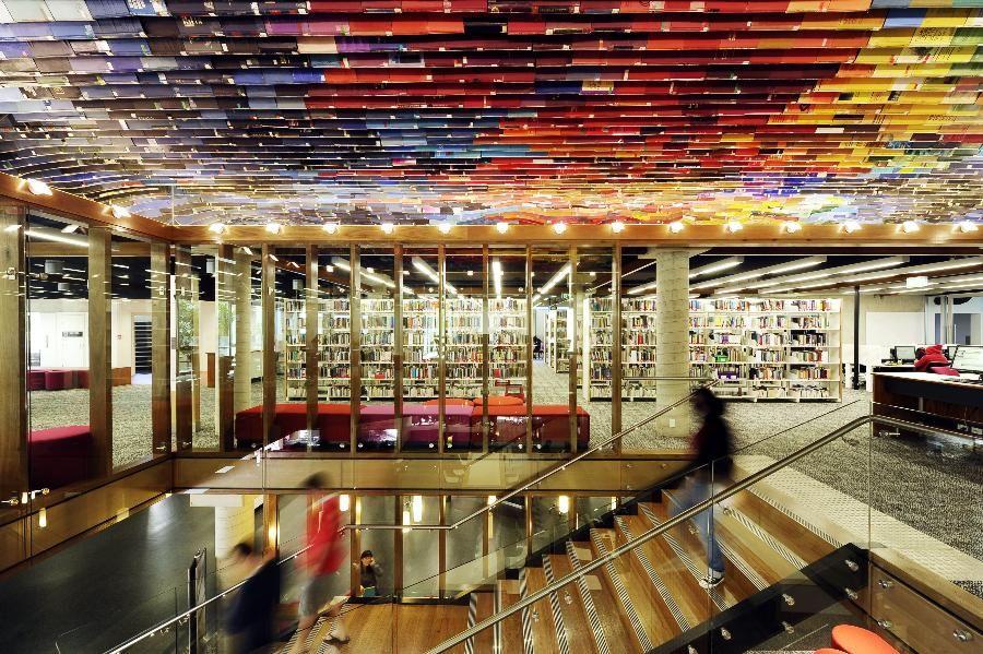 QUT Library James Cubitt Colour Recycled Books Ceiling