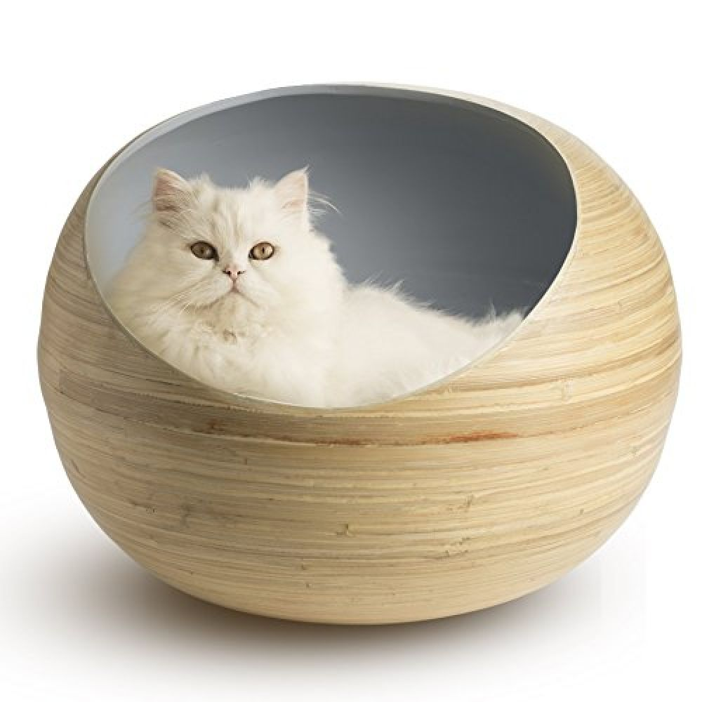 Fhasso Luxury Bamboo Cat Bed Eco Friendly Natural Handmade Cat Cave Bed With Washable Velvet Cushion Enclosed Premium Pet Bed Modern Decorative Design Cat Cave Kitten Beds Cool Cat Trees