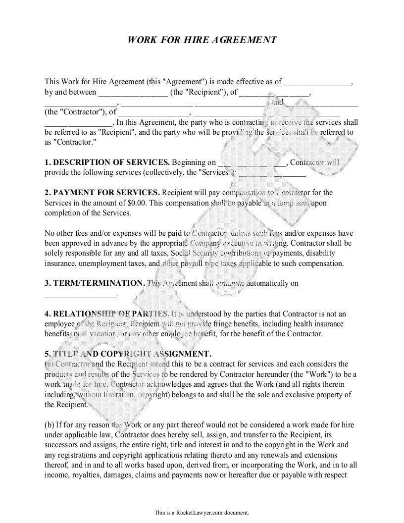 Work For Hire Agreement Music Template Printable in 2020
