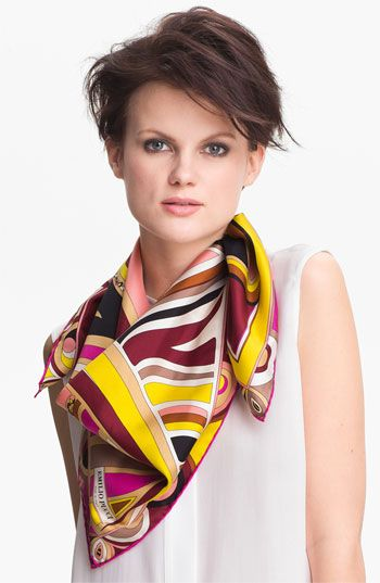 Emilio Pucci 'Leaf Profile Timeless' Silk Scarf available at #Nordstrom