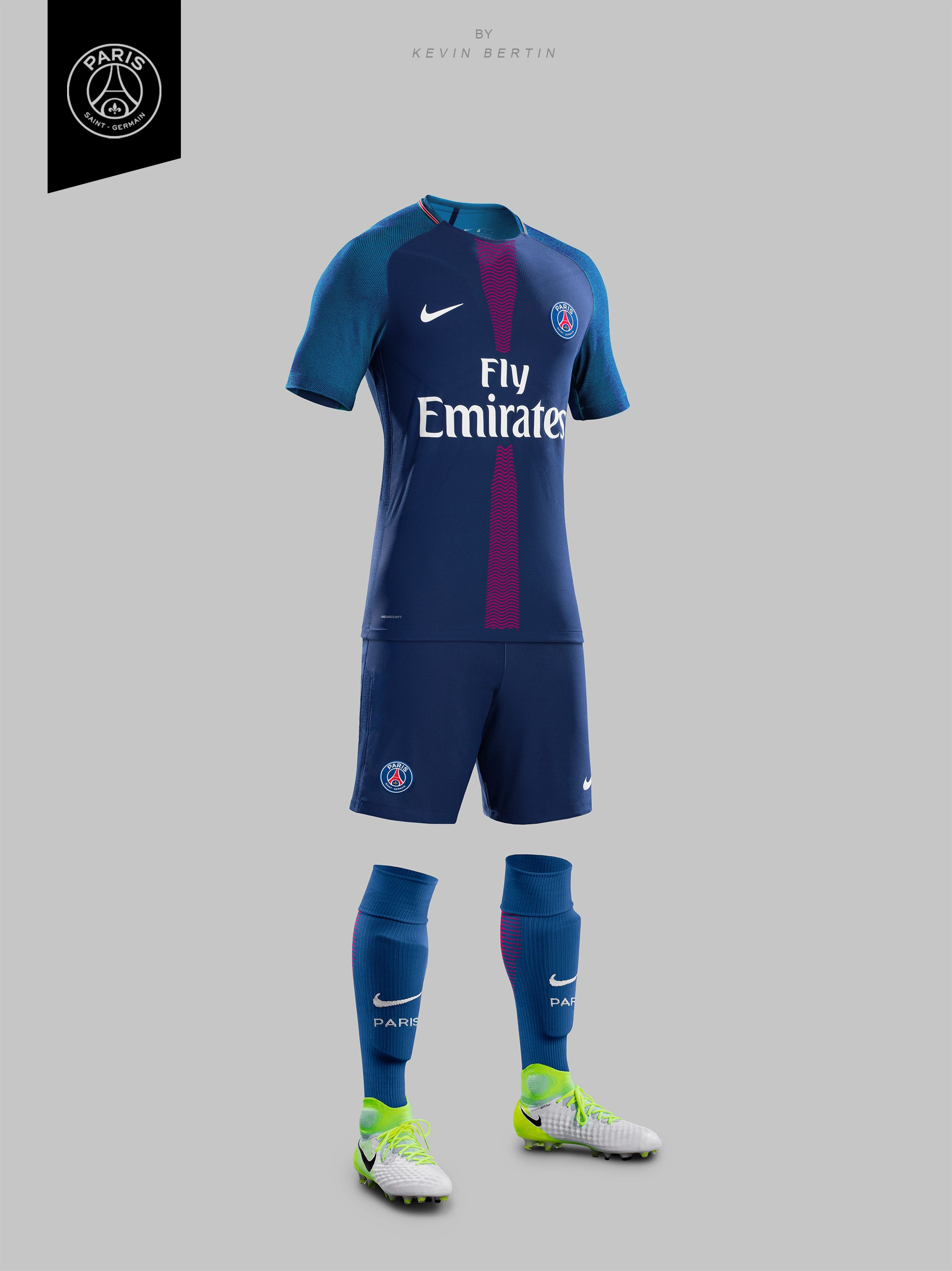 00897046b0 PSG Concept Design by Kevin Bertin Jersey Maillot 2018-2019 Kit Paris  Saint-Germain home