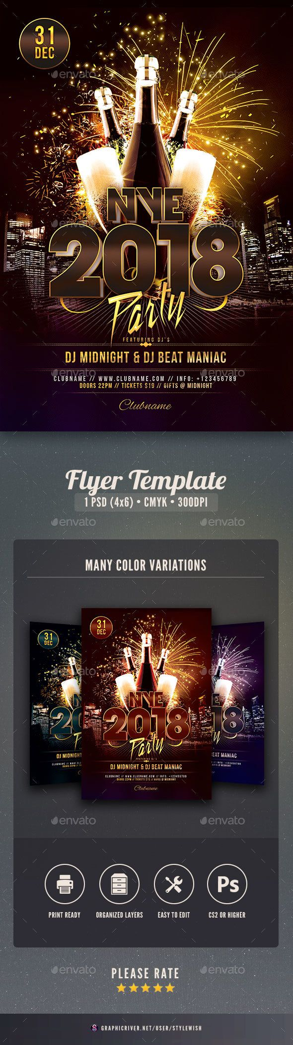 Nye  Party Flyer  Party Flyer Nye And Flyer Template
