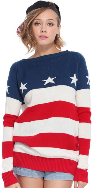 901f5f9ceb Red-white Striped Stars Print Blue Jumper | Wants ShopStyle