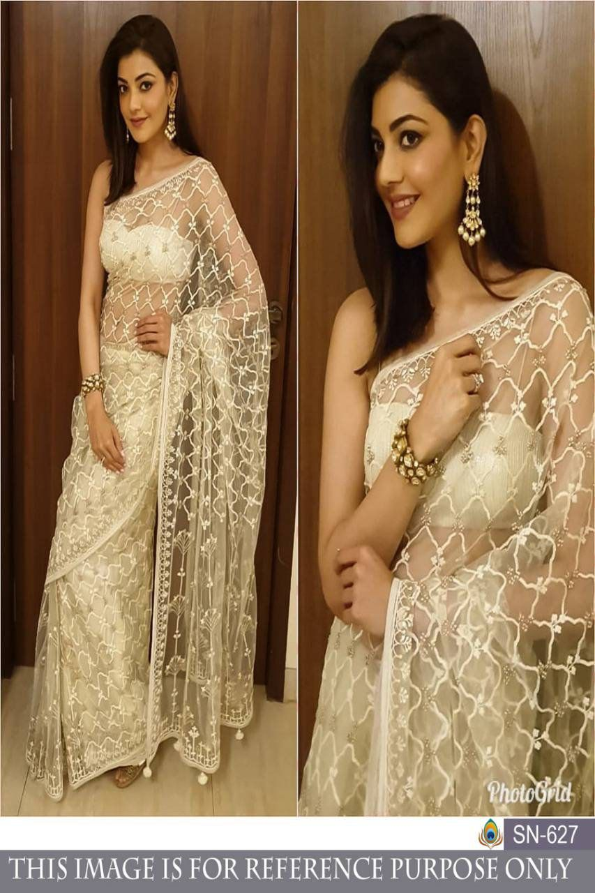 Photo of White Colore Bollywood Style Designer saree with Embroidery work with heavy design wedding wear saree Pakistani style wedding saree