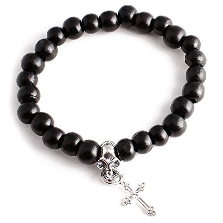 Perepaix rave mens black wood bead bracelet silver plated alloy