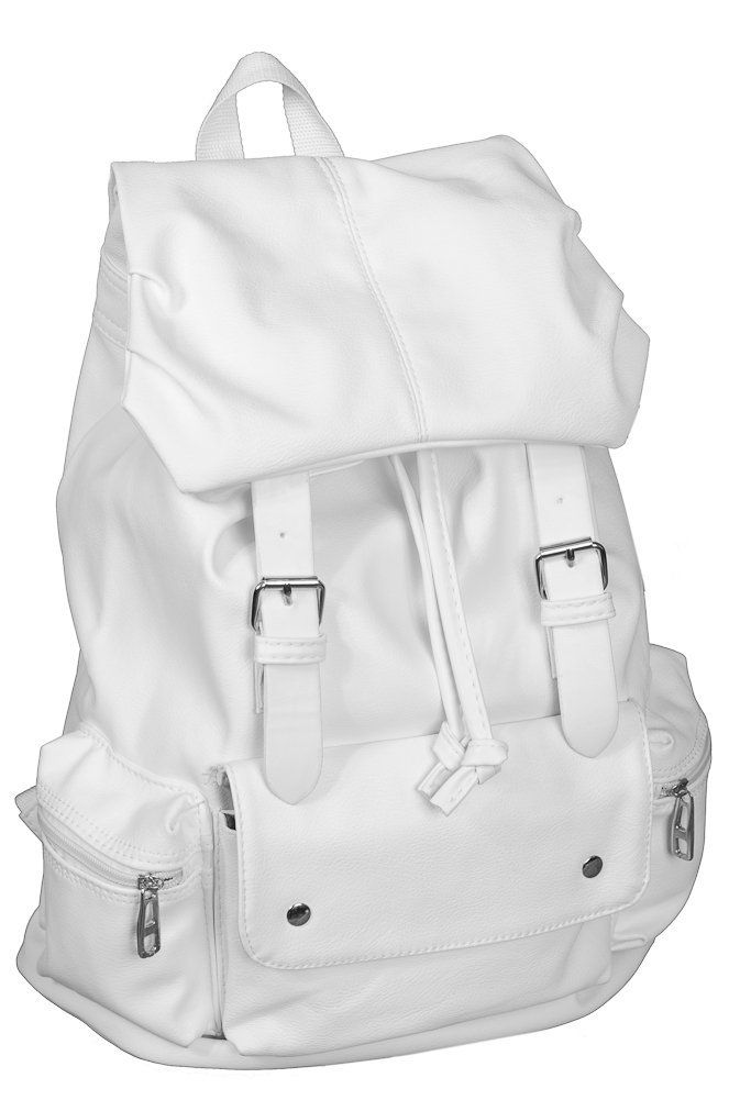 White Pu Leather Like Material Backpack School Bag Great Qulaity Sports Outdoors
