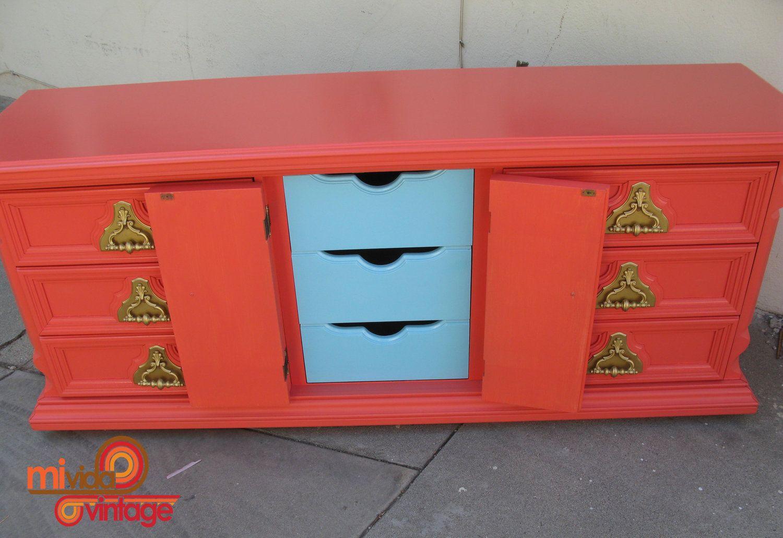 Vintage Refurbished Coral - Tangerine Tango 9 Drawer Dresser with Gold Hardware. $549.00, via Etsy.