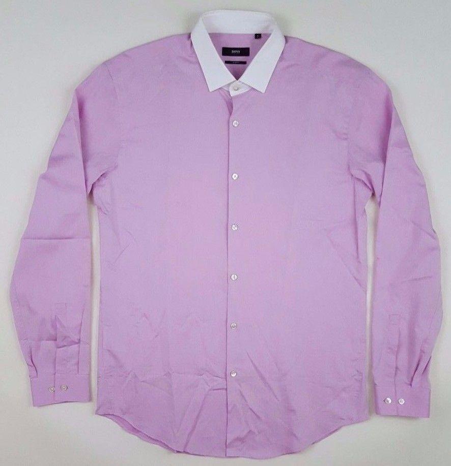 HUGO Boss SLIM Fit PINK Shirt WHITE Collar MENS 41 16 Sz SIZE Cotton  HERRINGBONE #